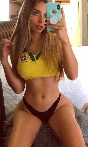 Bruna Rangel Lima é mais uma gata na torcida pelo Brasil