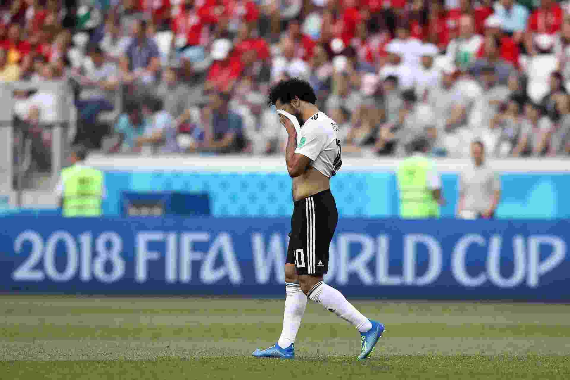 Salah sofreu com a ineficiência do sistema ofensivo do Egito e lamentou a derrota - Getty Images