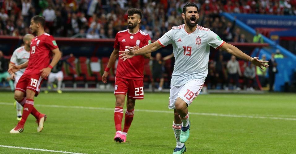 Diego Costa comemora gol da Espanha contra o Irã