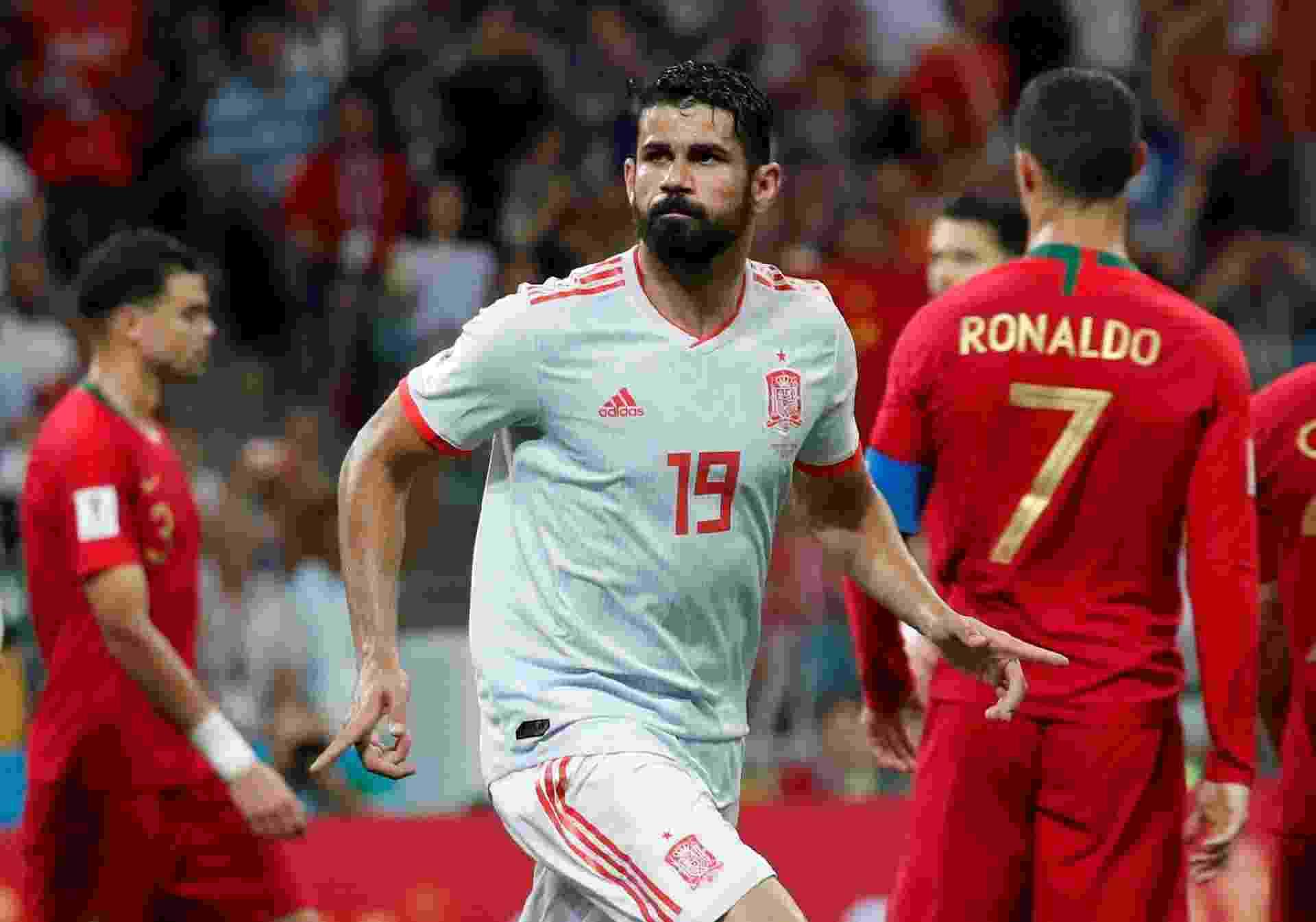 Diego Costa comemora gol da Espanha contra Portugal - undefined