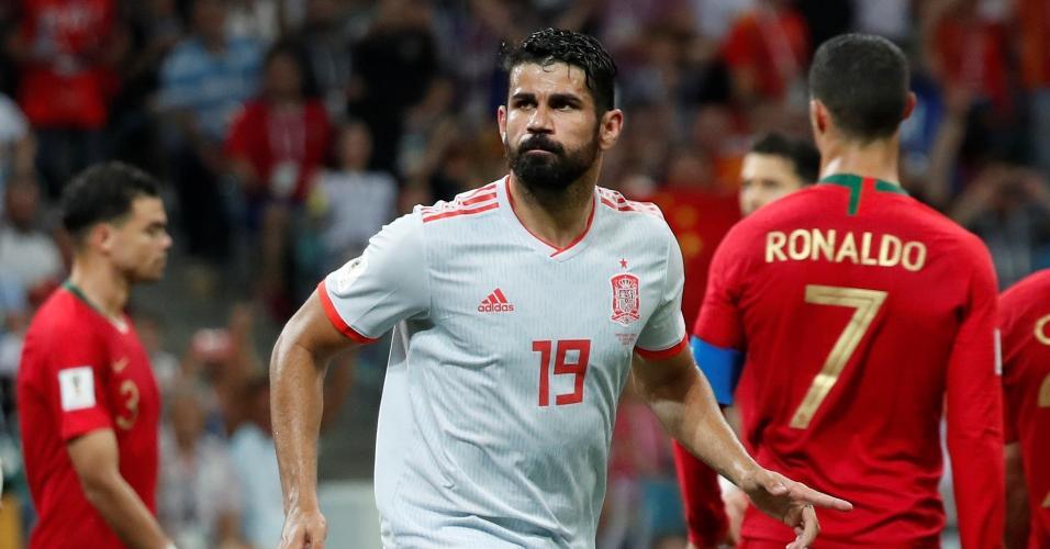 Diego Costa comemora gol da Espanha contra Portugal