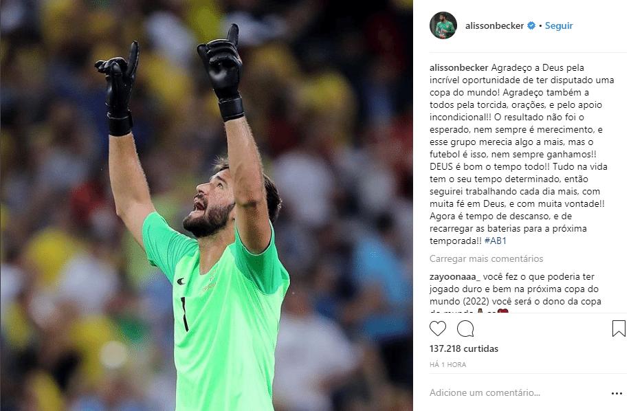 Goleiro Alisson fala da eliminação do Brasil na Copa