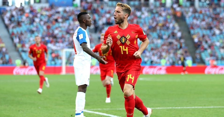 Dries Mertens comemora após inaugurar o placar para a Bélgica contra o Panamá