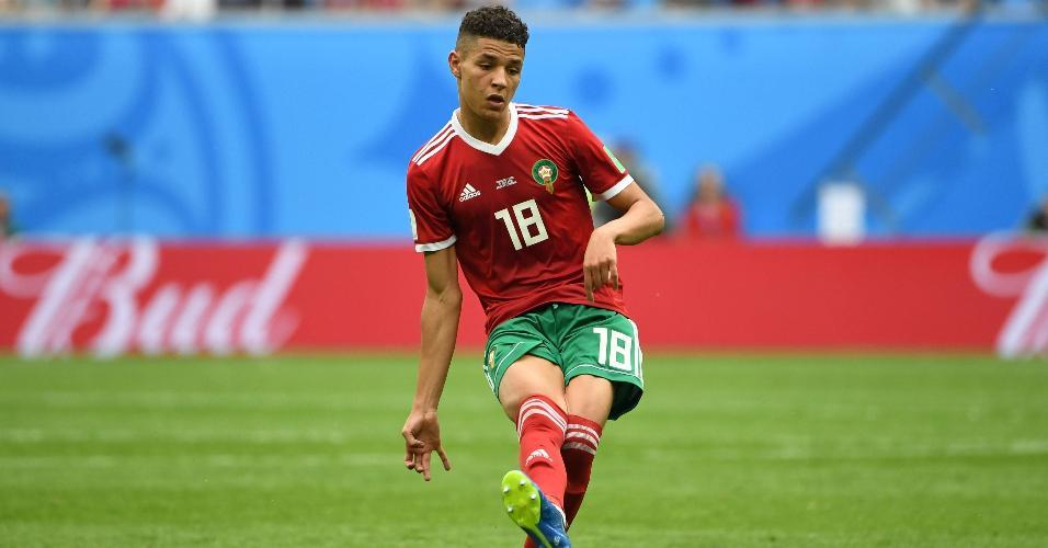 Amine Harit, do Marrocos, durante jogo contra o Irã