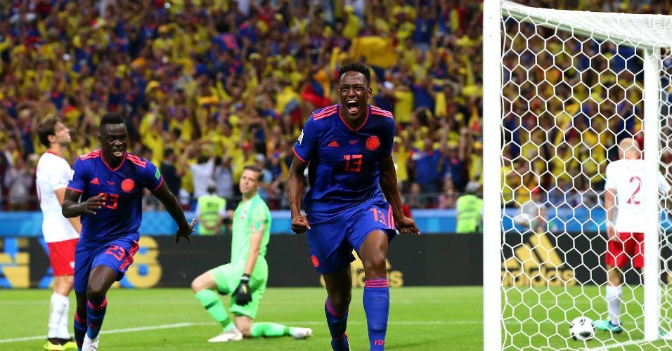 Yerry Mina comemora gol da Colômbia contra a Polônia
