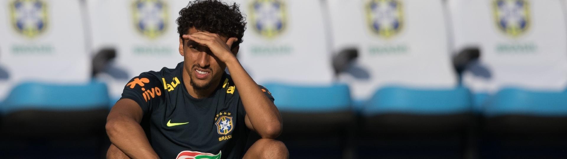 Marquinhos, durante treino da seleção brasileira