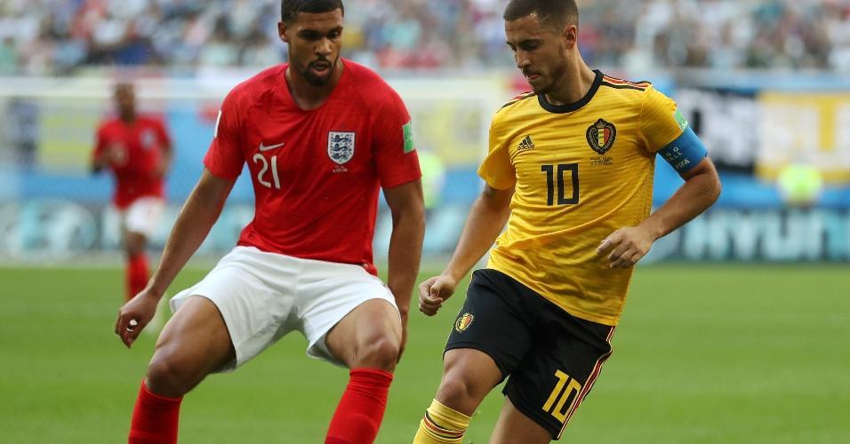 Eden Hazard é marcado por Ruben Loftus-Cheek. Bélgica tem maior domínio de jogo no primeiro tempo