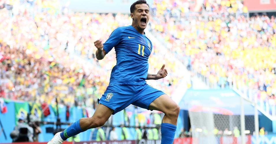 Coutinho celebra primeiro gol do Brasil