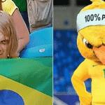 Este torcedor do Brasil na arquibancada do estádio em Samara representou bem o Canarinho Pistola na briga contra o Chapolin Colorado - Reprodução/Twitter