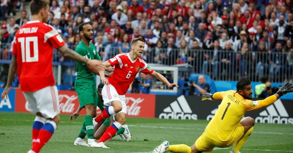 Denis Cheryshev marca segundo gol da seleção russa contra a Arábia Saudita