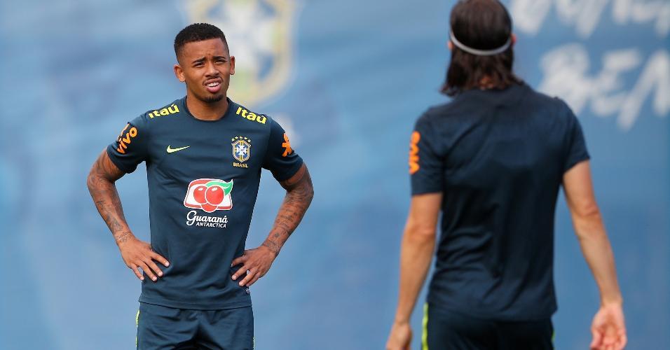 Gabriel Jesus, durante treino da seleção brasileira