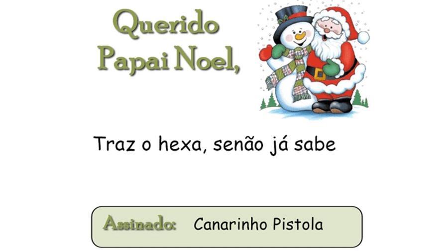 Meme carta Papai Noel hexa