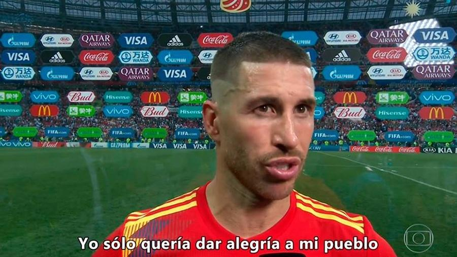 Sergio Ramos bem que tentou explicar a derrota da Espanha aos torcedores