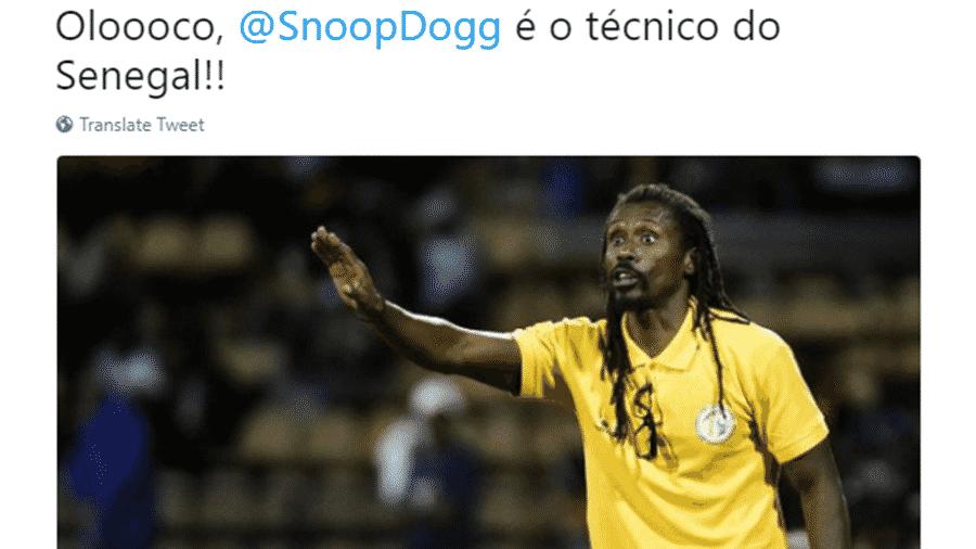 Aliou Cissé, técnico de Senegal, foi o nome do jogo na vitória contra a Polônia. Pelo menos na internet - Reprodução/Twitter