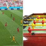 Os uniformes de Austrália e Peru lembraram uma mesa de pebolim - Reprodução/Twitter