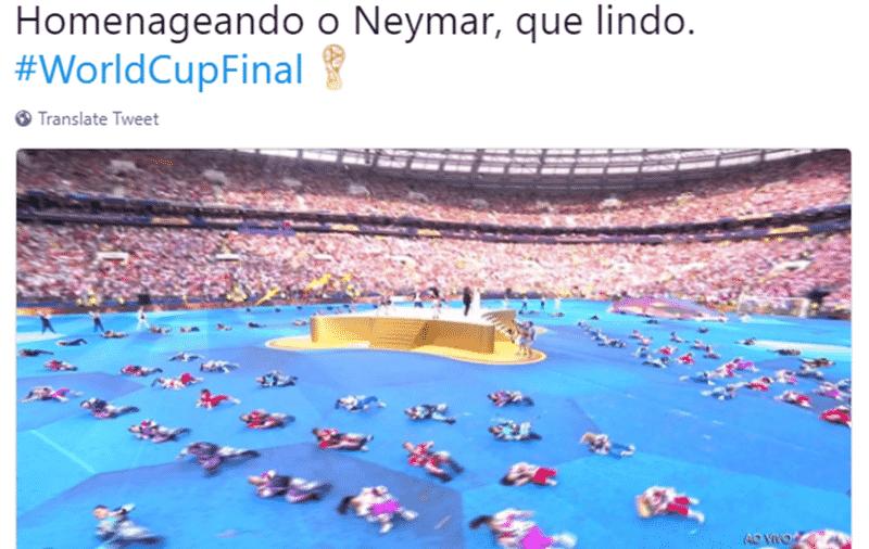 Quem disse que o Brasil não estaria na final da Copa? Esta coreografia da cerimônia de encerramento foi interpretada como uma homenagem a Neymar - Reprodução/Twitter