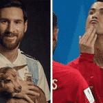 """Após abrir o placar, Cristiano comemorou com a mão na """"barbicha""""... Seria uma provocação ao Messi, que postou fotos com um bode? (Bode, em inglês, é sigla para """"maior de todos os tempos"""") - Reprodução/Twitter"""