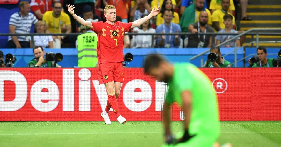 Kevin de Bruyne comemora segundo gol da Bélgica contra o Brasil