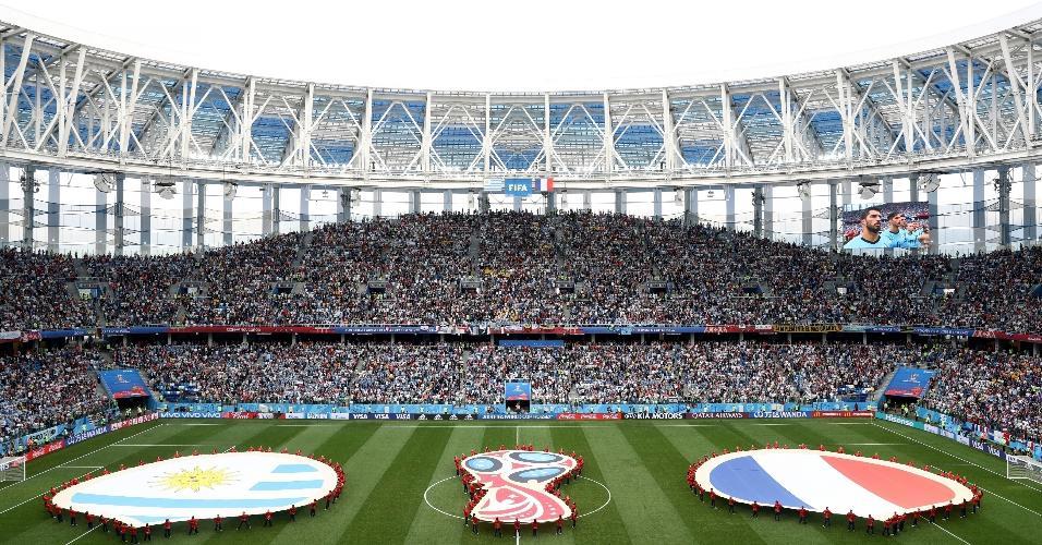 Estádio em Nizhny Novgorod, palco de Uruguai x França