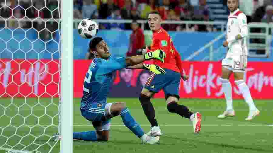Iago Aspas marca de letra para a Espanha: arbitragem anulou o gol incorretamente, mas VAR corrigiu - Richard Heathcote/Getty Images