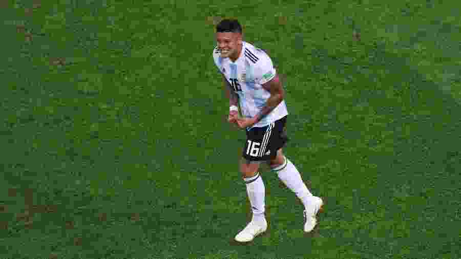 Marcos Rojo comemora gol da Argentina contra a Nigéria na Copa do Mundo de 2018 - Francois Nel/Getty Images
