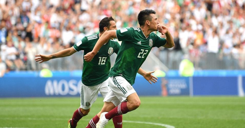 Lozano comemora após abrir o placar para a seleção do México sobre a Alemanha