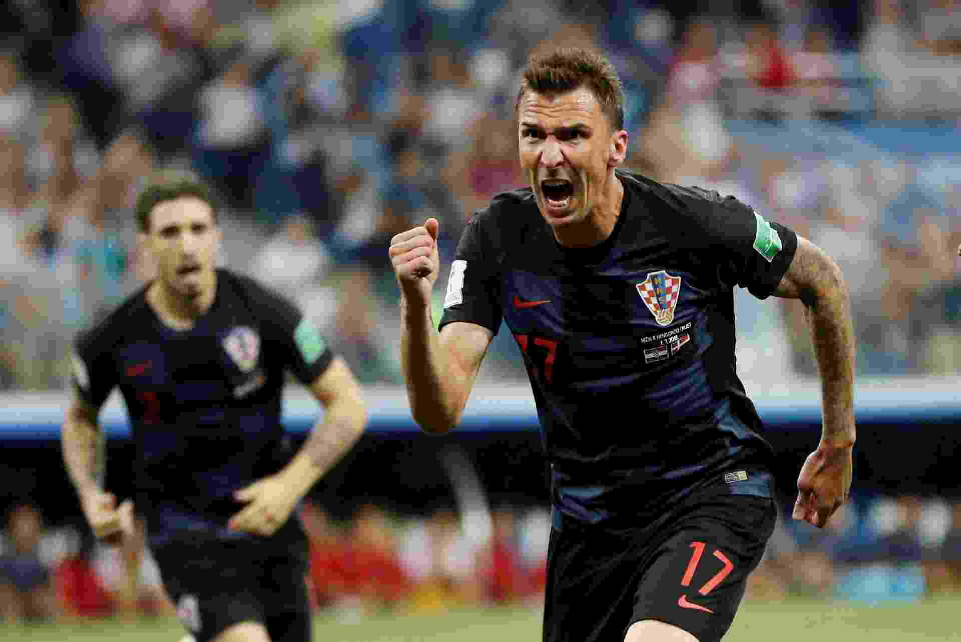 Mario Mandzukic comemora gol da Croácia contra a Dinamarca - Darren Staples/Reuters