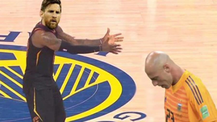 Foi o Messi com o Caballero, mas poderia ter sido o LeBron com o JR Smith