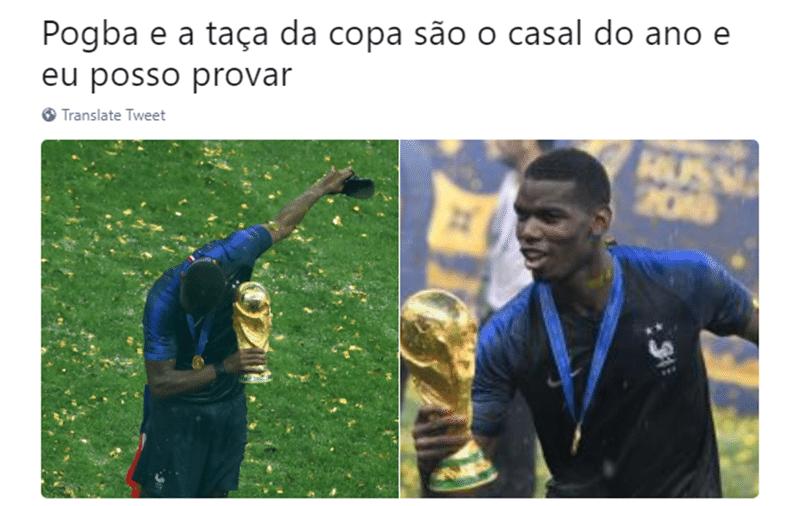 """""""Pogba e a taça da Copa são o casal do ano"""", escrevem internautas"""