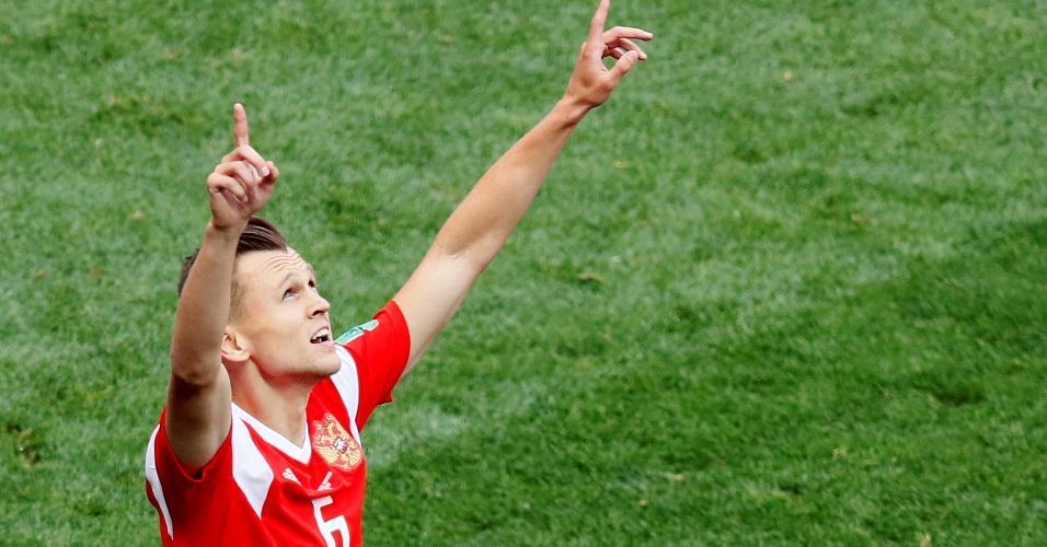 Denis Cheryshev comemora após marcar pela seleção russa sobre a Arábia Saudita