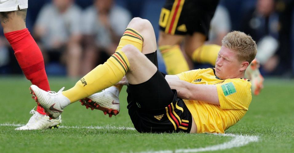 Kevin de Bruyne leva a pior durante disputa de bolana partida da Bélgica contra a Inglaterra