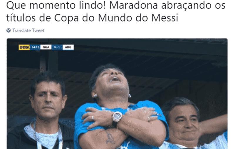 Messi finalmente fez gol, mas a grande atração do jogo entre Argentina e Nigéria é o Maradona - Reprodução/Twitter