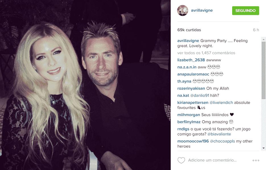 15.fev.2016 - Avril Lavigne reencontrou seu ex-marido Chad Kroeger na pré-festa do Grammy, promovida pelo produtor Clive Davis, na noite deste domingo. A cantora publicou duas fotos em sua conta do Instagram para marcar o momento e fãs questionaram se eles teriam reatado - Reprodução/Instagram avrillavigne