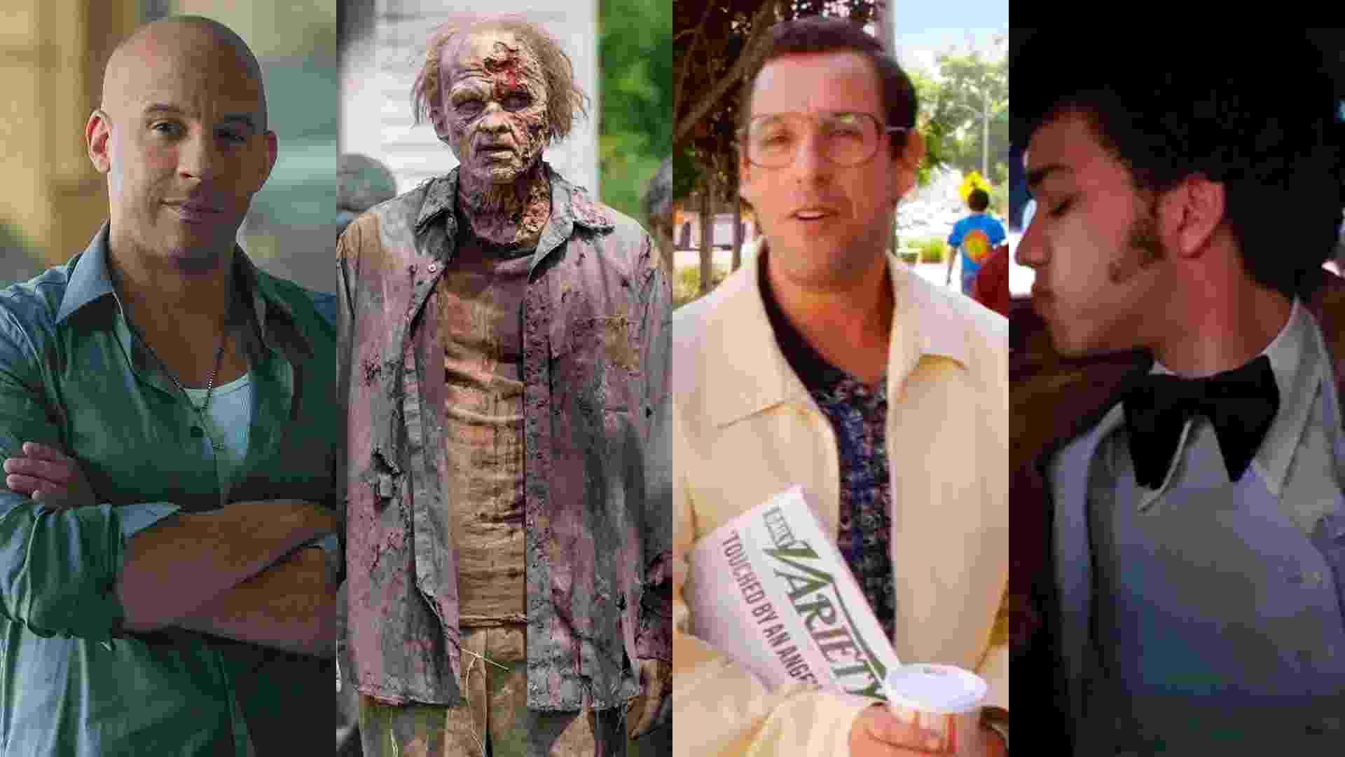 """Cenas de """"Velozes & Furiosos 7"""" (2015), de James Wan, """"The Walking Dead"""", """"Sandy Wexler"""" (2017), de Steven Brill e """"The Get Down"""" - Reprodução/Montagem"""