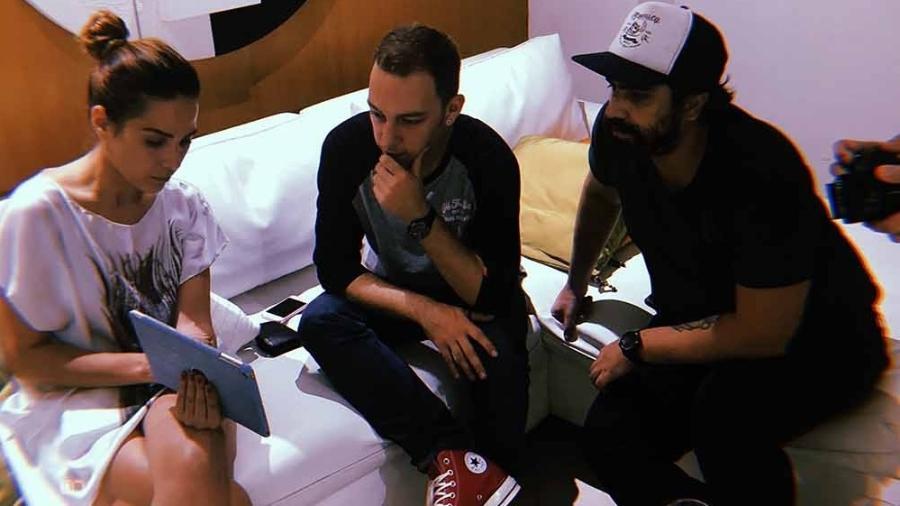 Wanessa em reunião com Os Primos sobre seu novo videoclipe - Arquivo pessoal