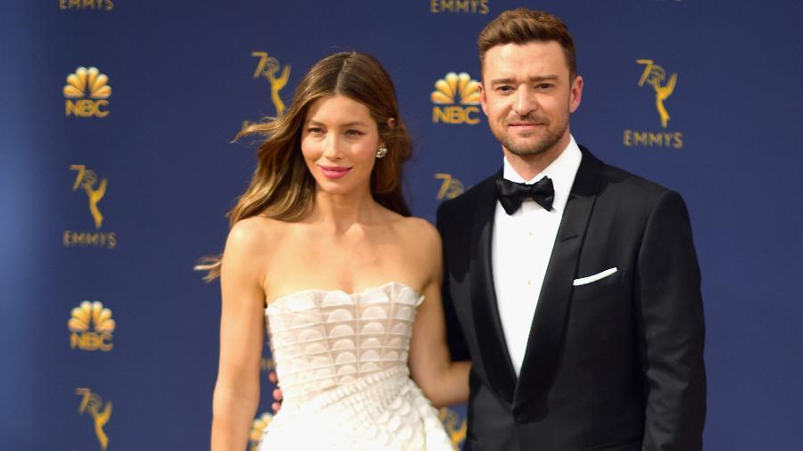 Jessica Biel e Justin Timberlake na cerimônia do Emmy, em Los Angeles - Matt Winkelmeyer/Getty Images