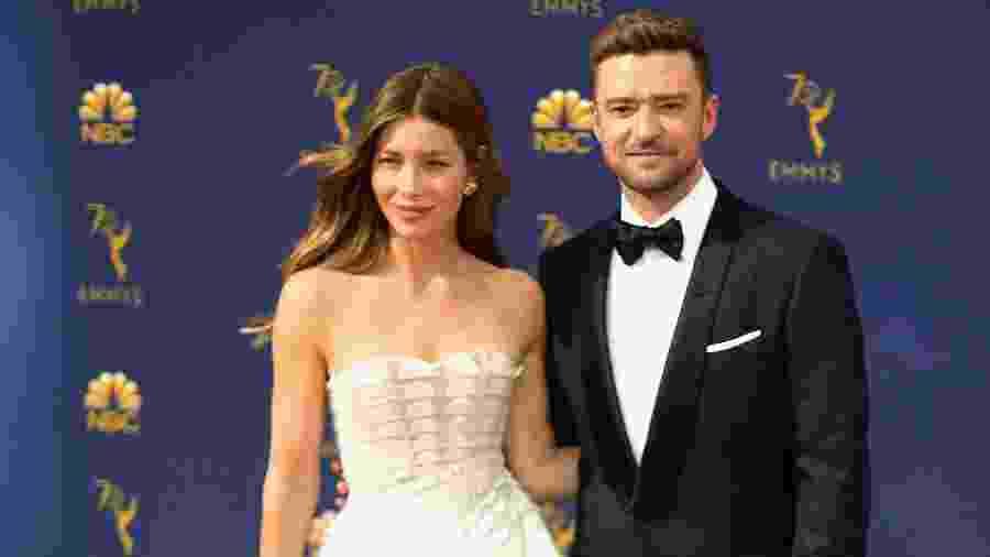 Jessica Biel e Justin Timberlake em cerimônia em Los Angeles - Matt Winkelmeyer/Getty Images