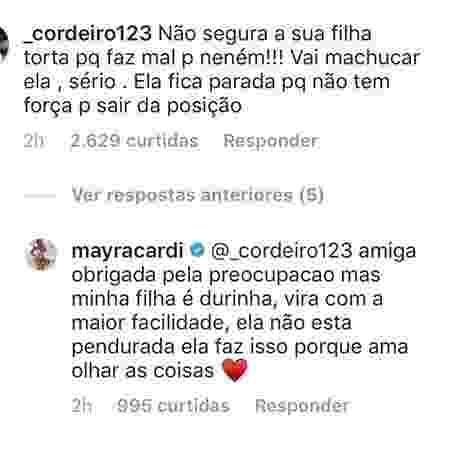 Mayra Cardi responde seguidora sobre posição polêmica que aparece segurando a filha - Reprodução/Instagram - Reprodução/Instagram