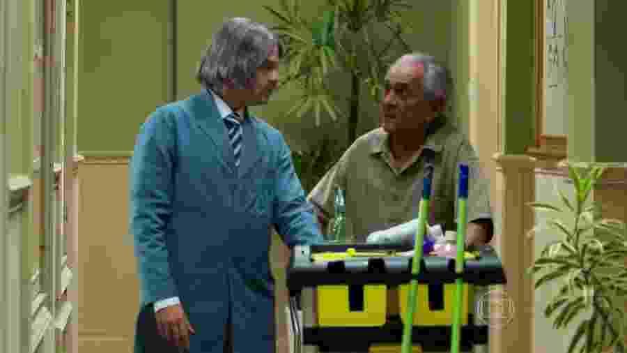 """Bruno Mazzeo e Lúcio Mauro, quando participou da nova """"Escolinha do Professor Raimundo"""" - Reprodução/TV Globo"""