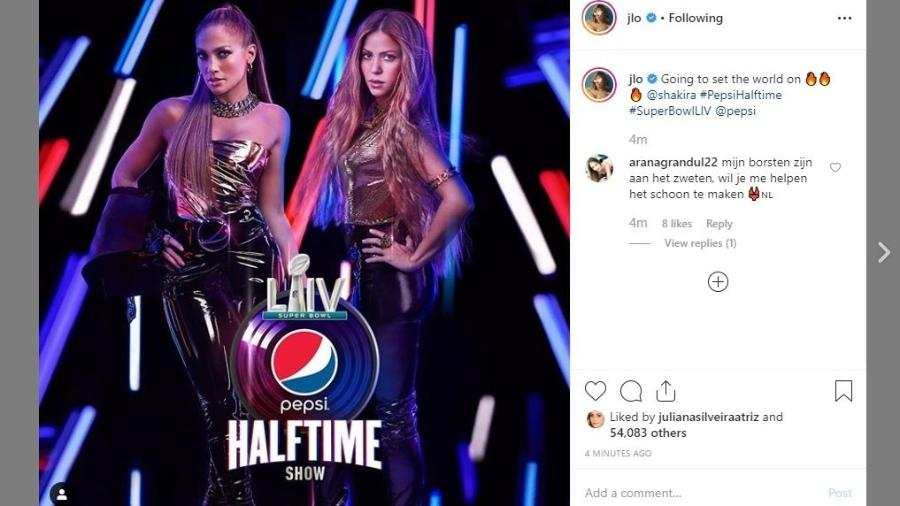 Jennifer Lopez e Shakira anunciam show no Super Bowl  - Reprodução