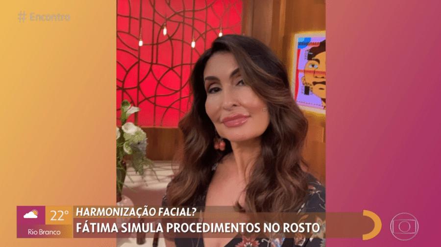 """Fátima Bernardes brincou com o filtro de harmonização facial no """"Encontro"""" - Reprodução / TV Globo"""