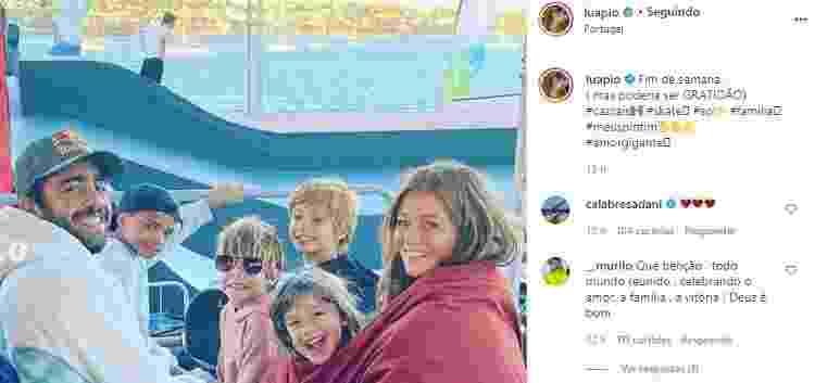 Luana Piovani publica foto de Pedro Scooby com os filhos e a atual esposa, Cintia Dicker - Reprodução/Instagram - Reprodução/Instagram
