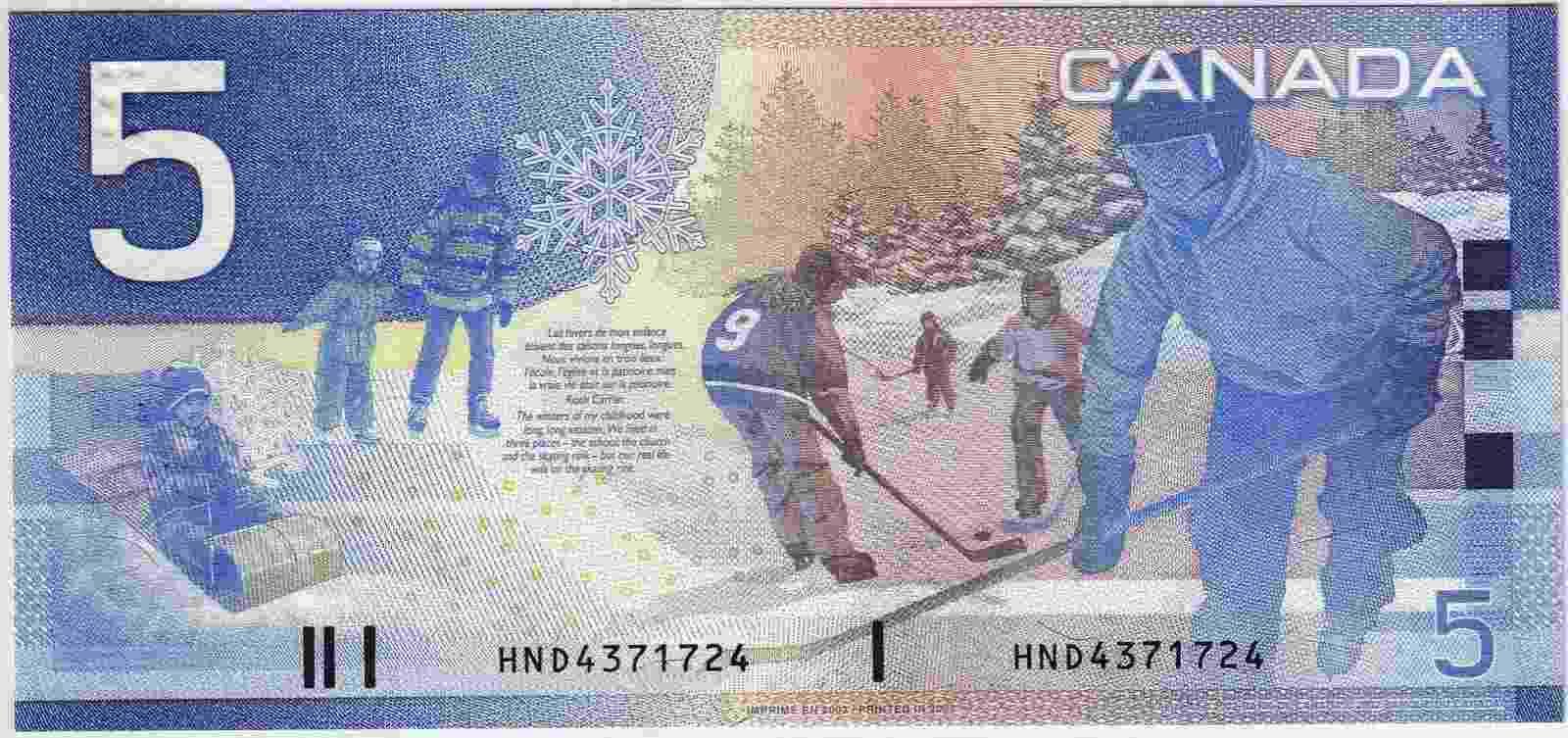 O hóquei é o esporte mais popular no Canadá e aparece na nota de 5 dólares do país norte-americano - Reprodução