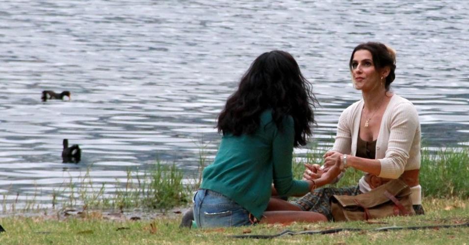 20.jul.2016- Deborah gravou com a protagonista da temporada, Aline Dias, que viverá Joana, elogiou a parceira de cena: