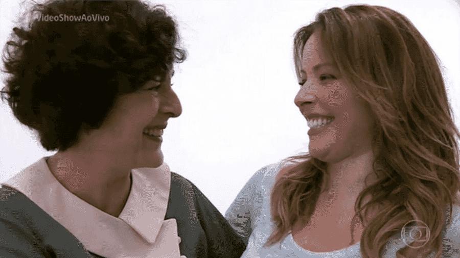 """Bia Montez e Renata Dominguez se reencontraram nos bastidores da Globo, durante reportagem produzida pelo """"Vídeo Show"""", nesta sexta-feira (10) - Reprodução/TV Globo"""