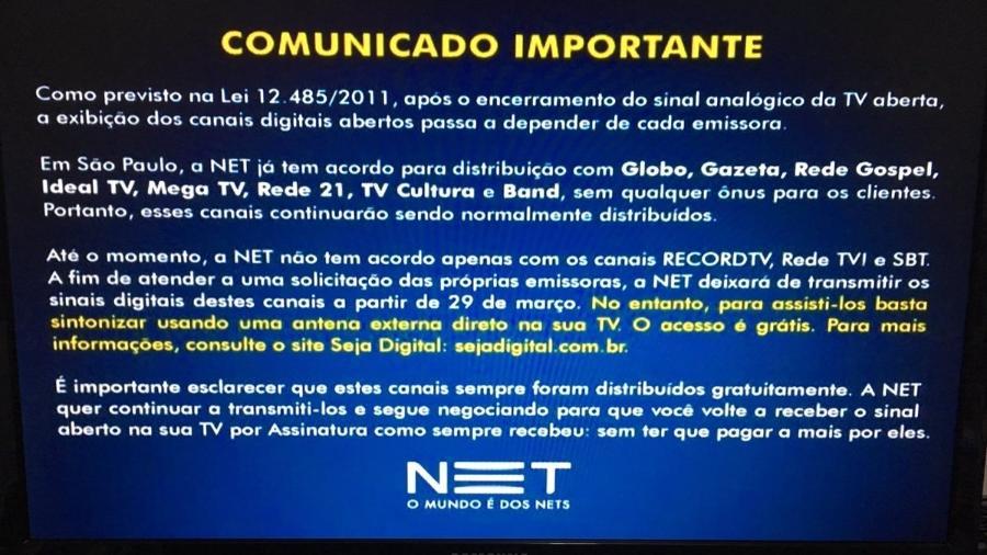 Aviso da Net no dia do desligamento do sinal analógico - Reprodução/TV