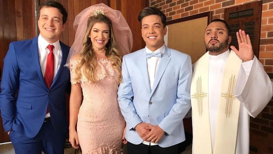 Rafael Cortez, Lorena Improta, Wesley Safadão e Tirullipa em gravação de clipe - Reprodução/Instagram