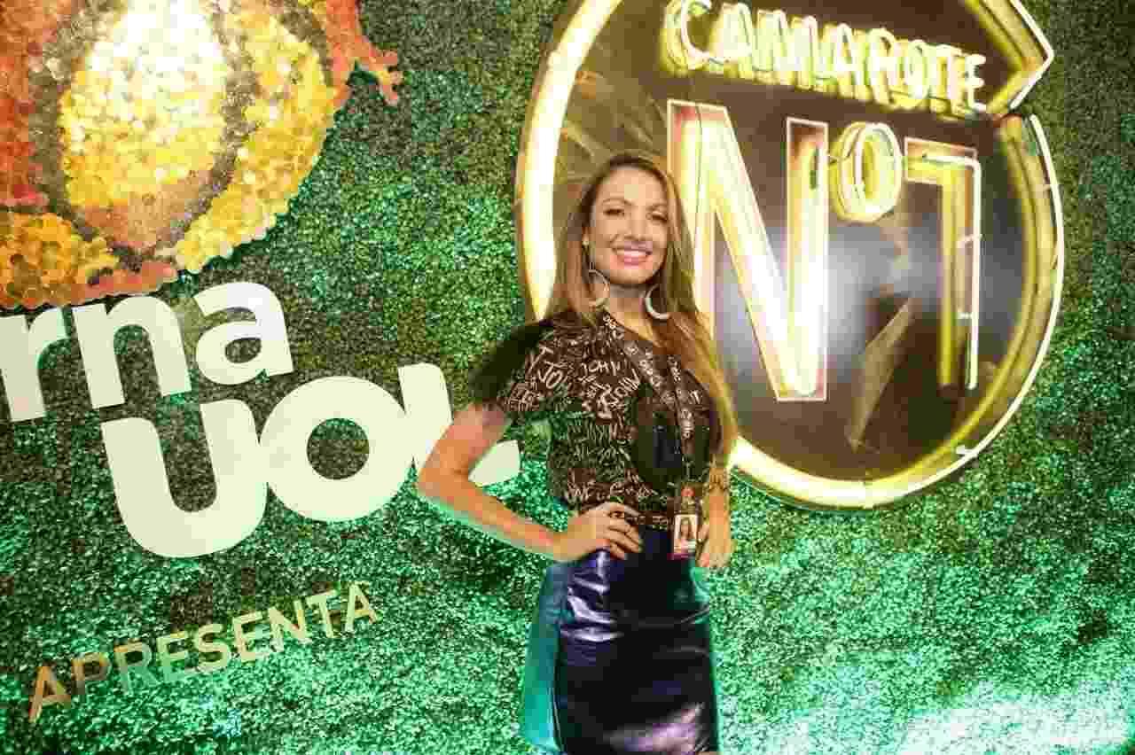 A apresentadora Patrícia Poeta posa no camarote CarnaUOL RJ/N1, localizado no ponto mais privilegiado da Marquês de Sapucaí - Gianne Carvalho/UOL
