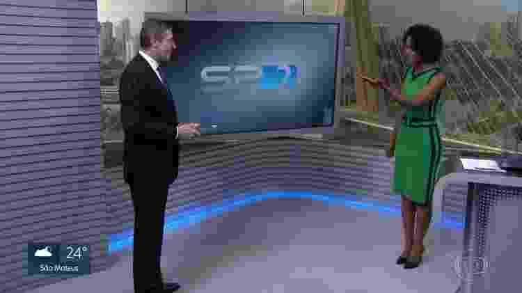 """Márcio Gomes recebe boas-vindas de Maria Júlia Coutinho no """"SP2"""" - Reprodução/TV Globo - Reprodução/TV Globo"""