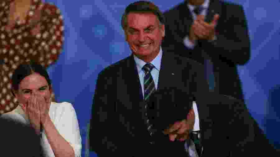 Bolsonaro na cerimônia de Posse da então Secretaria Especial da Cultura do Ministerio do Turismo, Regina Duarte - Pedro Ladeira/Folhapress